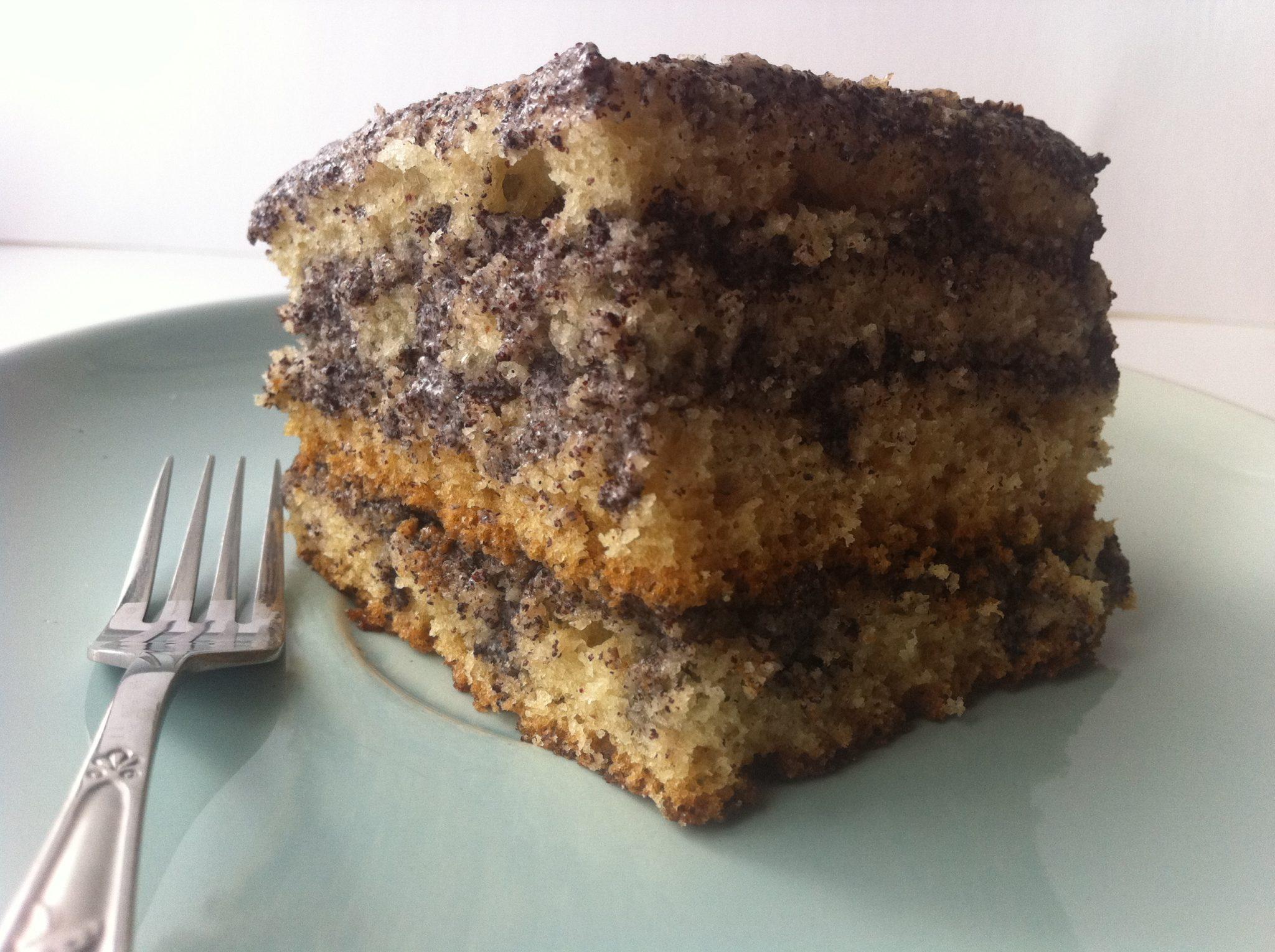 Бисквитный торт без яиц с творожно-маковой прослойкой - рецепт