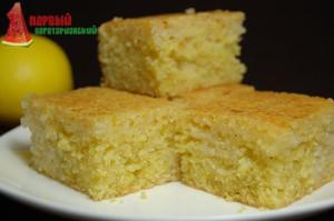 Простой лимонный пирог без яиц