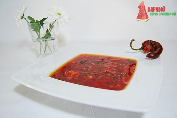 Красный борщ с фасолью