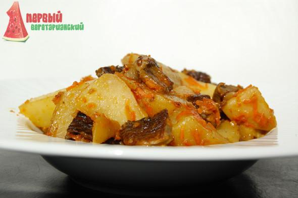 Рецепт картошки с солеными грибами в духовке