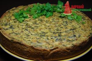 Пирог со шпинатом, грибами и сыром тофу без яиц